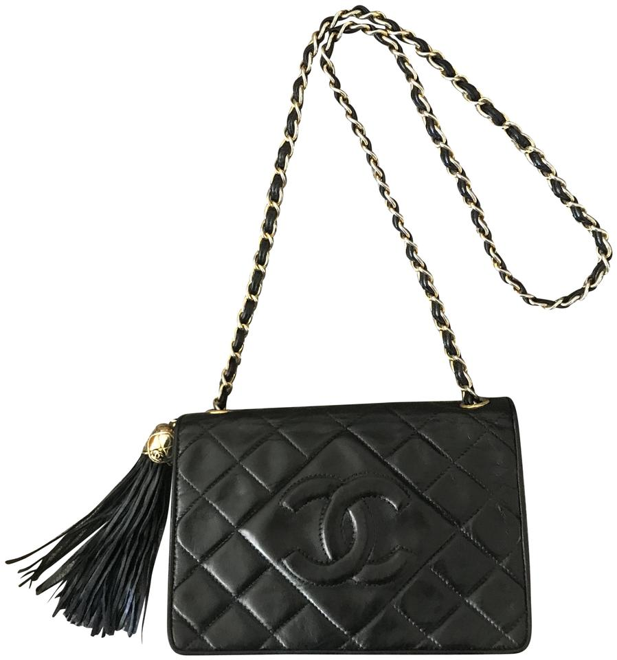 65d0d82a908d18 Chanel Classic Flap Vintage Quilted Tassel Black Lambskin Leather ...