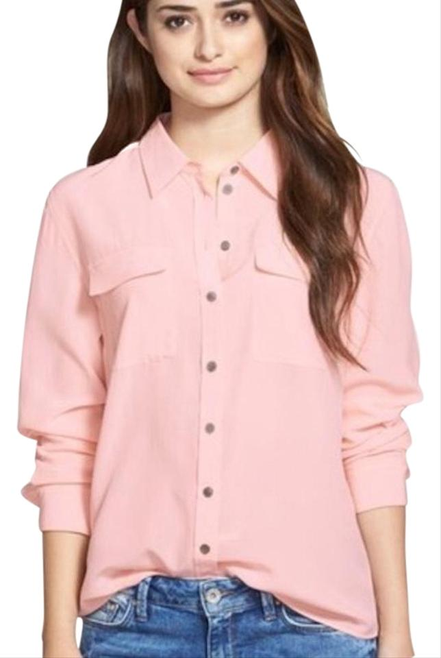 5aff3339e Vince Camuto Silk Utility Blouse Crepe Button Down Shirt Pink Image 0 ...