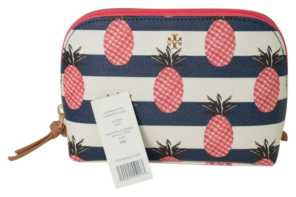 a6c12dab2f4 Tory Burch Blue White and Pink Kerrington New Pineapple Makeup Cosmetic Bag