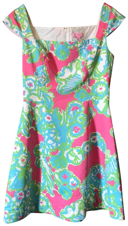 3ace2545160 Lilly Pulitzer Pink Multi Color York A-line Short Cocktail Dress ...