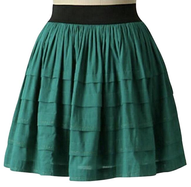 Item - New Teal Blue / Green & Black Anthro Odille Tiered Flare Skirt Size 10 (M, 31)