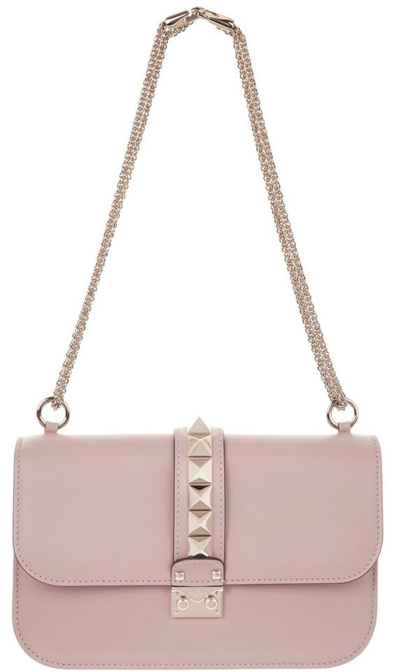 c9c9c7c7a1 Valentino Medium Rockstud Glam Lock Poudre Blush Pink Leather Shoulder Bag