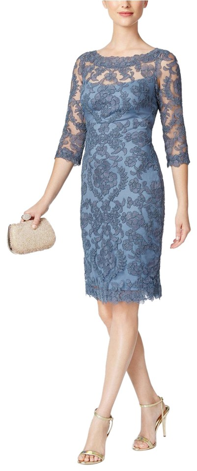 c4b66d75c178d Tadashi Shoji Steel Blue Embroidered Mesh Lace Sheath Short Cocktail ...