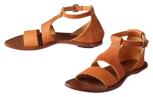 CYDWOQ T-strap Leather Natural brown Sandals