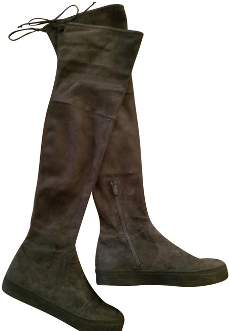 Item - Grey Playtime Black Suede Over The Knee Boots/Booties Size US 7.5 Regular (M, B)