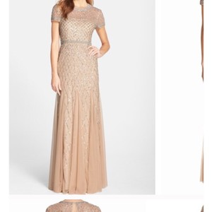 Adrianna Papell Beaded Short Sleeve Gown Feminine Bridesmaid/Mob Dress Size 14 (L)