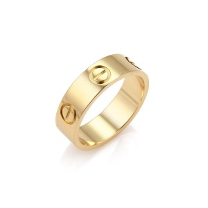 Cartier Love 18k Yellow Gold 5.5mm Band Ring Size 54 US 7 w/Cert.