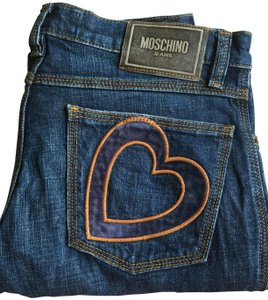 Moschino Heart Applique Vintage Stretchy Boot Cut Jeans-Medium Wash