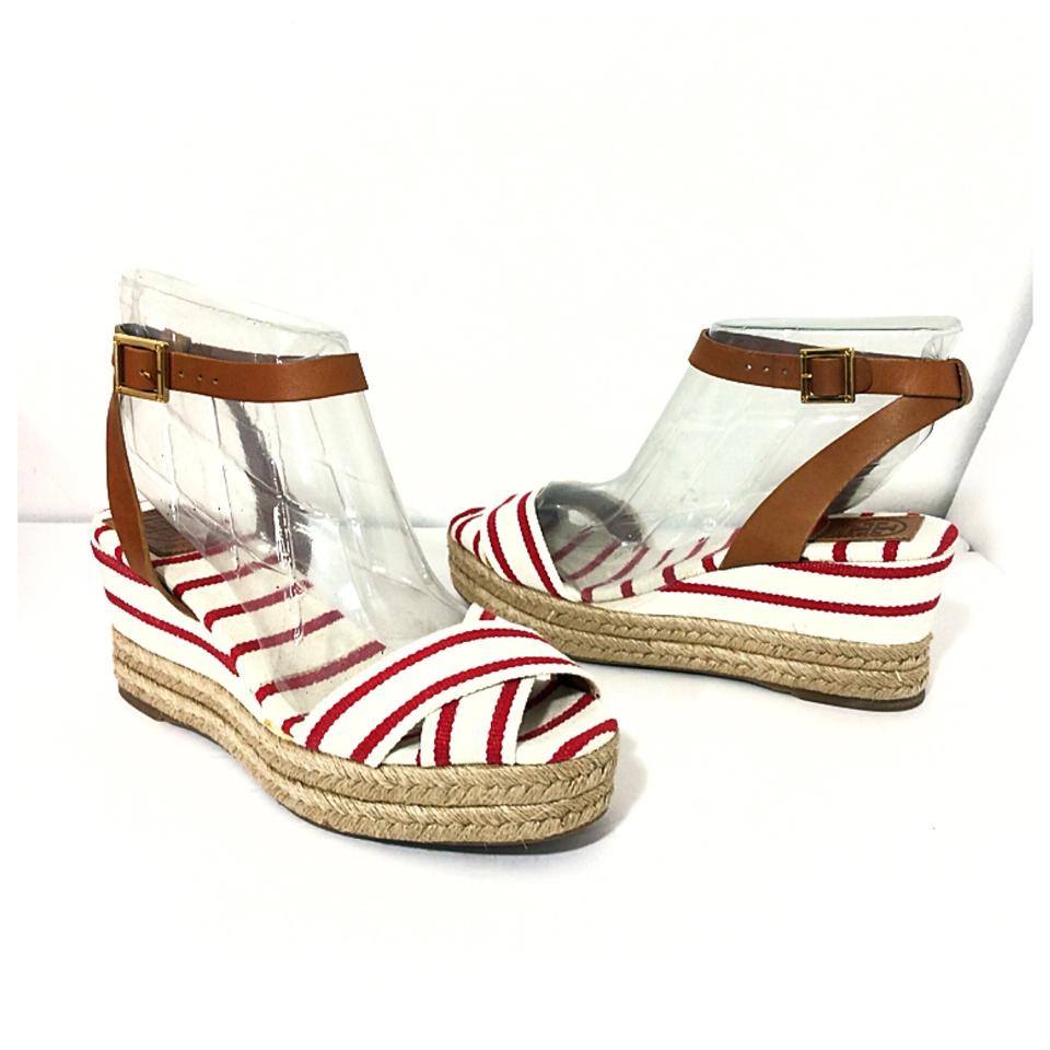 a10e0db5b1e Tory Burch New Karrisa Red White Stripe Espadrilles Platform Wedges Size US  11 Regular (M