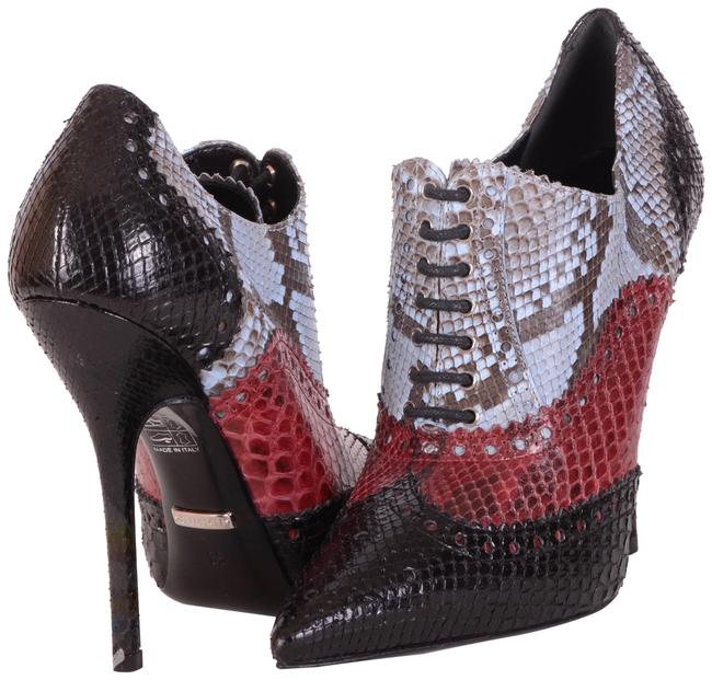Item - Multi-color 'gia' Python Skin Lace Up Ankle Boots/Booties Size EU 35 (Approx. US 5) Regular (M, B)