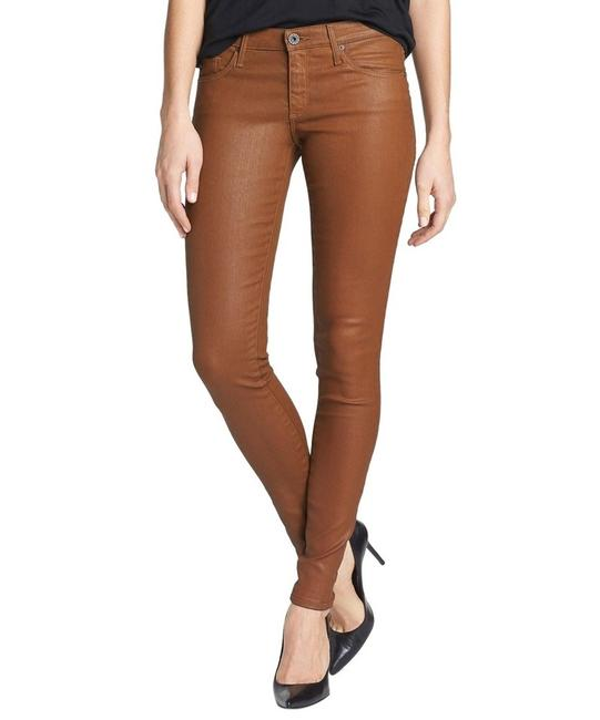 Item - Brown Coated Faux Leather The Legging Wax Stretch Skinny Jeans Size 25 (2, XS)