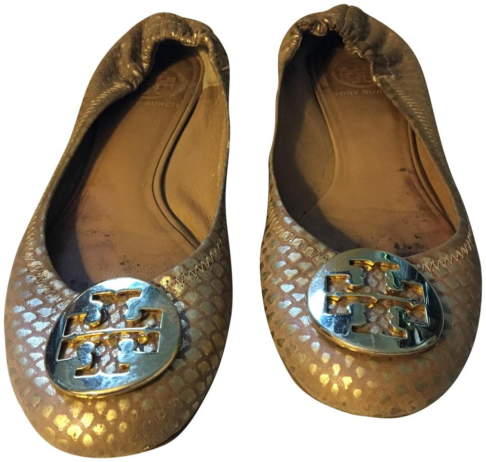 1e6dc514e3e Tory Burch Gold Suede Reva Flats Size US 8 Regular (M