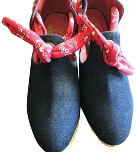 F-Troupe blue denim with red accents Wedges