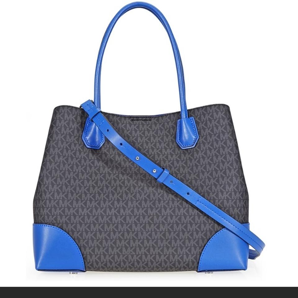 efa1363c3689 Michael Kors Mercer Corner Black Cobalt Blue Leather Tote - Tradesy