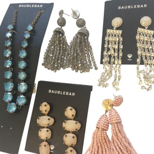 BaubleBar 4 pair crystal/tassel earring + 1 necklace pink silver blue clear