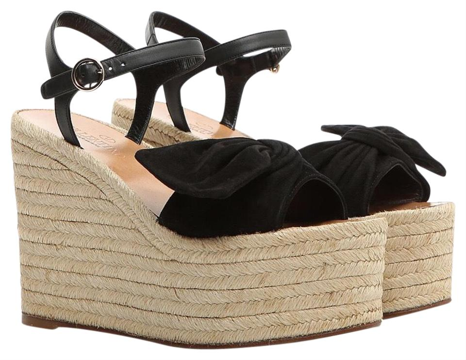 54a3306896af7 Valentino Bow Suede Wedges Size EU 39 (Approx. US 9) Regular (M, B ...