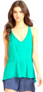 Elizabeth and James Silk Racerback Sleeveless Top Emerald