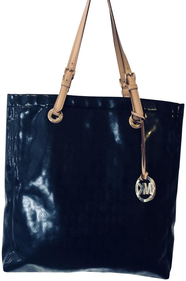 610093cc9655 Michael Kors Jet Set Metallic Black Patent Leather Tote - Tradesy