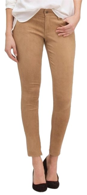 Item - Sand Coated Suede Leather Legging Brown Stretch Pants Tan Skinny Jeans Size 25 (2, XS)