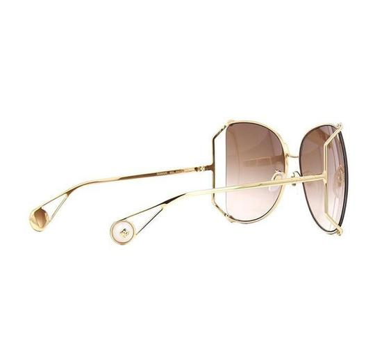 a88cefb8ac Gucci Brown Gold Tone Square Gradient Unisex Sunglasses - Tradesy