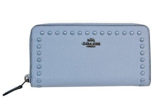 Coach Coach Around Wallet Polished Pebble Leather w Lacquer Rivets 12041