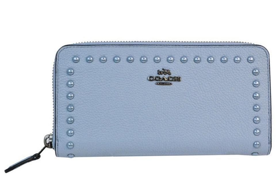7bcf4496b Coach Coach Around Wallet Polished Pebble Leather w Lacquer Rivets 12041  Image 0 ...