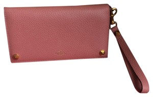 Valentino Removable Strap 7 Card Slots One Zip Pocket Wristlet in Salmon/light Pink