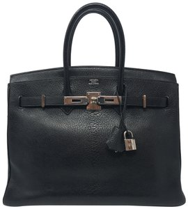 Hermès Birkin Birkin 35 Chevre Leather Birkin Kelly Satchel in Black