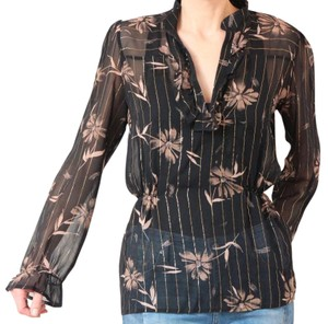 What Goes Around Comes Around Top Black floral