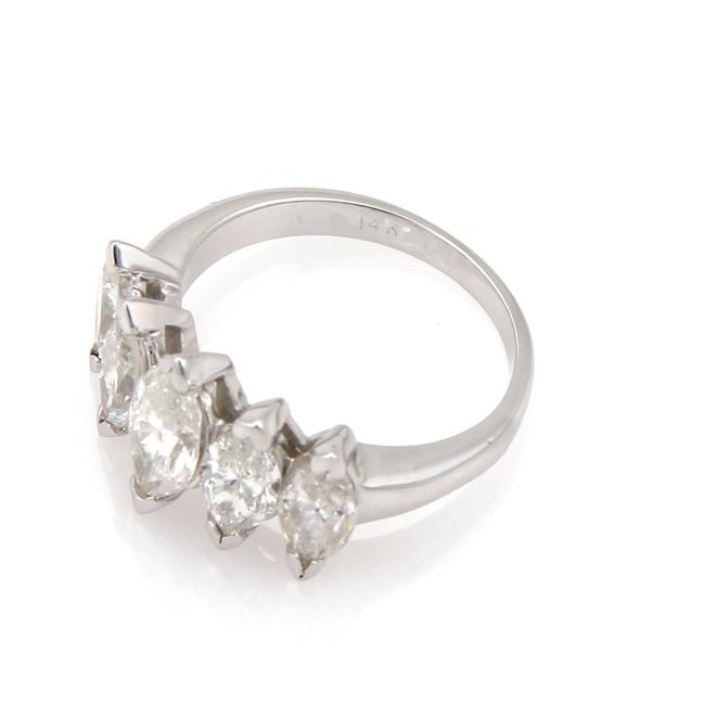 0.55 Ct Marquise Cut Solitaire 7-Stone Diamond Engagement Ring 14k White Gold GP