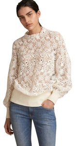 Burberry London Lace Volumous Mother Of Pearl Sweater