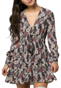 Free People short dress Longsleeve Floral Print Tassels V-neck on Tradesy