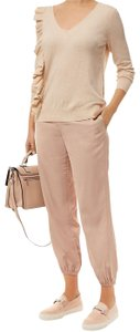 Elizabeth and James Jogger Trouser Satin Relaxed Pants Champagne