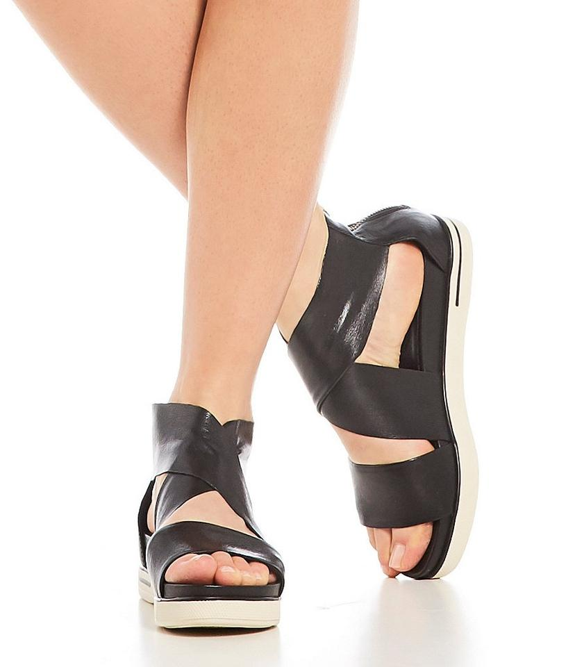 d6cabf84cc6d Eileen Fisher Black Sport Criss Cross Tumbled Leather Banded Sandals ...