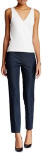 Vince Camuto Indigo Color Contour Back Seams Flat Front Hidden Side Zip No Pockets Straight Pants Navy Blue