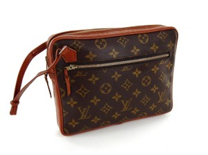 Louis Vuitton Monogram Vintage Wristlet Brown Clutch