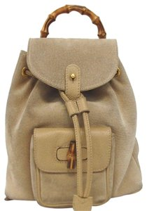 Gucci Vintage Suede Leather Italian Bamboo Backpack