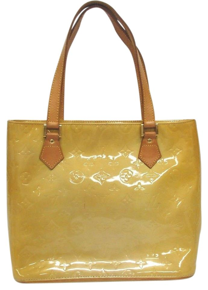 4a62289ec82b Louis Vuitton Houston Tote Yellow with Brown Vernis Shoulder Bag ...