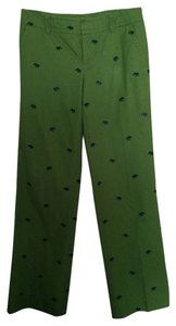 Lilly Pulitzer Embroidered Print Spring Summer Straight Pants Green