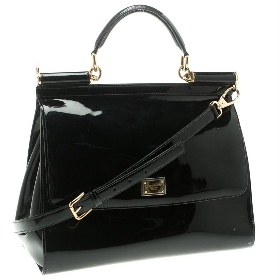 188adbcbc0c3 Dolce Gabbana Dolce Gabbana Large Miss Sicily Top Handle Ba Black Patent  Leather and Fabric Shoulder Bag