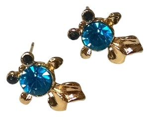 Other New 14K Gold Filled Fish Stud Earrings Cubic Zirconia Crystals J828
