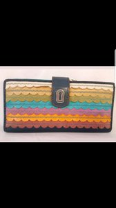 Fossil Wallet Vintage Leather Blue Multicolor Clutch