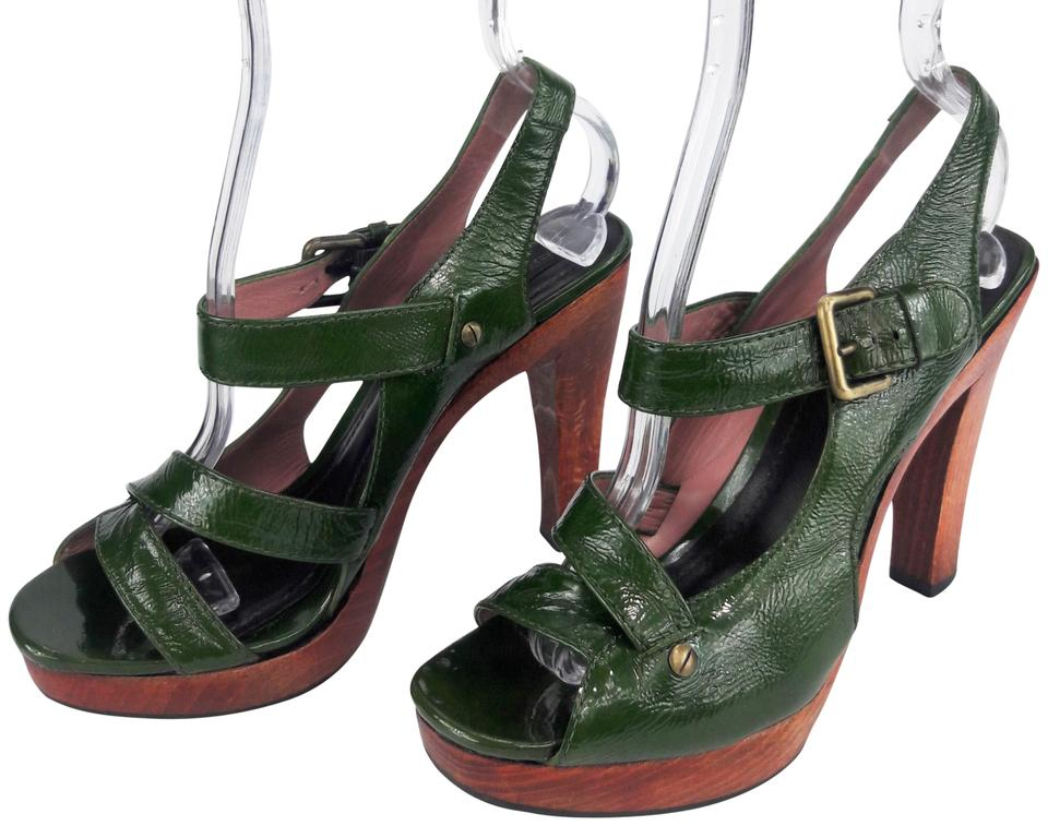 Derek Lam Green Toe Distressed Patent Leather Open Toe Green Ankle Strap Platform Sandals d429b2