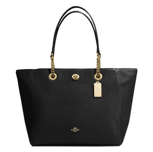 Coach Pebbled Leather Turnlock Tote in Black