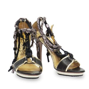 Lanvin Fringe Hem Chain Stiletto Open Toe Black / Pewter / Gold Sandals