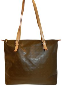 Arcadia Leather Logo Shoulder Tote in Olive Green
