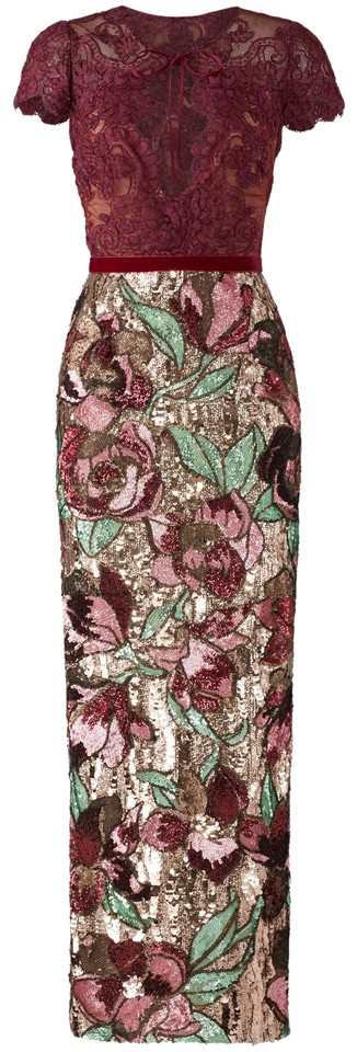 ef3be1bb9ae2 Marchesa Notte Wine Artwork Sequin Mid-length Cocktail Dress Size 4 ...