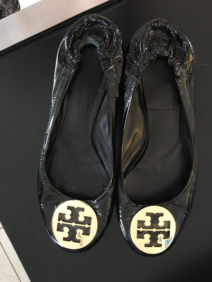 993150c7fc10 Tory Burch Black Gold Patent Leather Minnie Flats Size US 9 Regular ...