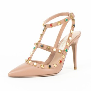 Valentino Leather Rockstud Pointed Toe Ankle Strap Multiple Stone Brown Pumps