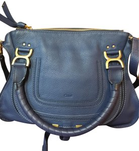 Chloé Leather Brown Satchel in Blue